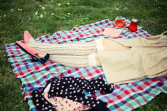 picknickkvinna arkivfoto