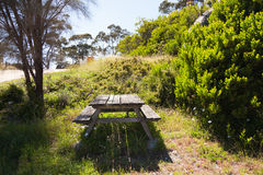 Picknicklijst in het zonlicht Stock Foto