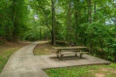 Picknicklijsten en grills bij het park stock foto