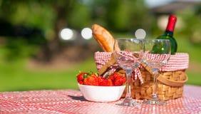 Picknickmand geruit met een tafelkleedwijn, baguette, aardbei, glazen, banner royalty-vrije stock foto