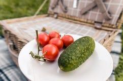 Picknickmand met voedsel stock afbeeldingen