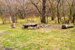 Picknickplats i höstskog Royaltyfri Bild