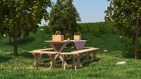 Picknicktabell på naturen Arkivbild