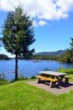 Picknicktabell vid sjön Royaltyfria Foton