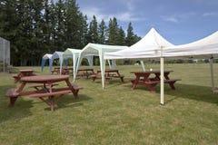 Picknicktabeller och tältgazebos på utomhus- gräsmatta Arkivbild