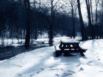 Picknicktisch im Schnee, Blau getont Stockfotografie