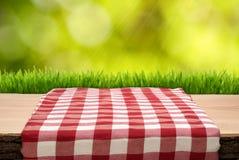 Picknicktisch mit cheched Tischdecke Stockbild