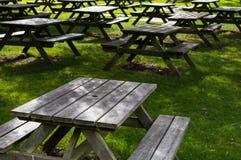 Picknicktische auf dem Gras lizenzfreie stockfotografie