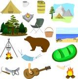 Picknickupps?ttning Vila i parkerar, i skogen, på sjön royaltyfri illustrationer