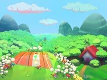 Picknickzeit auf dem Hügel nahe dem Haus der Oma gezeichnet in Karikaturart Lizenzfreies Stockbild