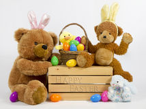 Picknik de easter do urso da peluche Fotografia de Stock