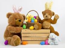 Picknik de Pâques d'ours de nounours Photographie stock