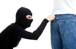 Pickpocket in action Royalty Free Stock Photo