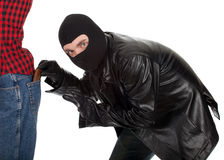 Pickpocket in action Royalty Free Stock Photography