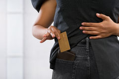 Pickpocket credit card Royalty Free Stock Image