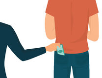 Pickpocket. Flat illustration isolated on white. Human hand takes money cash from pocket Royalty Free Stock Photos