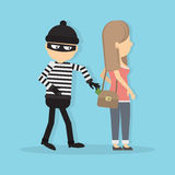 Pickpocket steals money. Royalty Free Stock Image