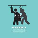 Pickpocketer roba cosas del bolso del símbolo del negro de In Public Transport del hombre de negocios stock de ilustración
