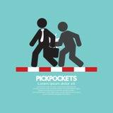 Pickpocketer ruba le cose dalla borsa del simbolo di On Street Black dell'uomo d'affari Fotografie Stock