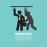 Pickpocketer Steal Things From Bag Of Businessman In Public Transport Black Symbol Royalty Free Stock Image