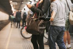 Pickpocketing at the subway station Royalty Free Stock Photography