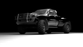 Pickup. A black pickup illuminated and seen in front Royalty Free Stock Image
