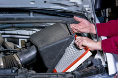 Pickup air cleaner is replaced Stock Photo
