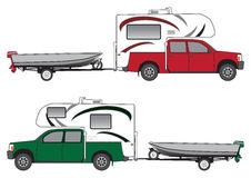 Pickup With Camper Pulling Boat Royalty Free Stock Image