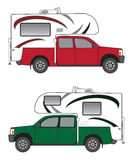 Pickup With Camper. Side view of pickup with camper in two different color schemes royalty free illustration