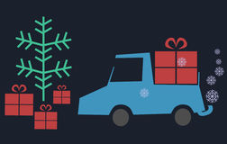 Pickup car with gifts and tree and snowflakes Stock Photo