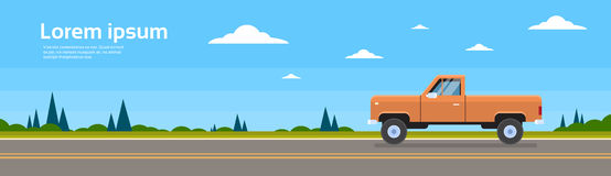 Pickup Car Truck On Road Banner With Copy Space Stock Photo