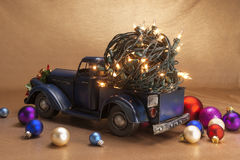 Pickup with christmas decoration Stock Photo