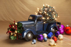 Pickup with christmas decoration Stock Photography