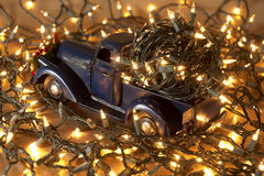 Pickup with christmas decoration Stock Image