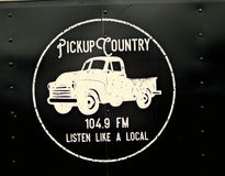 Pickup Country 104.9FM Radio Station Logo. Irvine, Ky US - April 29, 2017 Mountain Mushroom Festival Logo for the local radio station playing music for the royalty free stock image
