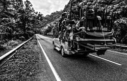 Pickup overloaded with house utensils. Royalty Free Stock Images
