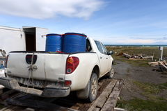 Pickup at the research station in the Gulf of Inutil. Stock Images