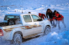 Pickup in the snow. Royalty Free Stock Photography