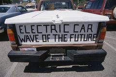 Pickup truck. Tailgate of pickup truck with banner, Electric Car, Wave of the Future Stock Images