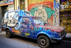 Pickup Truck and Alley Covered with Graffiti and Street Art Royalty Free Stock Photo