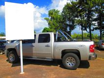 Pickup truck and blank billboard Stock Photography