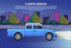 Pickup Truck Blue Vehicle On Night Road Over City Buildings Background With Copy Space. Flat Vector Illustration Royalty Free Stock Photography