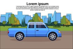 Pickup Truck Blue Vehicle On Road Over City Buildings Background With Copy Space. Flat Vector Illustration Stock Image