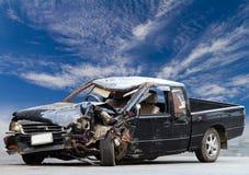 Pickup truck demolished sky. Stock Photos