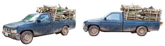 Pickup truck filled. Isolated Pickup truck filled with firewood stock photos