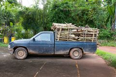 Pickup truck filled. With firewood Royalty Free Stock Photo