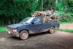 Pickup truck filled. With firewood Stock Image