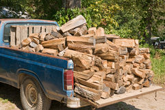 Pickup truck with firewood Stock Photos
