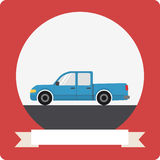 Pickup truck icon with round frame Stock Photo