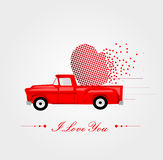Pickup Truck with Lovely Heart Stock Images